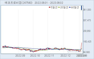 에코프로비엠 최근 6개월간 주가 차트